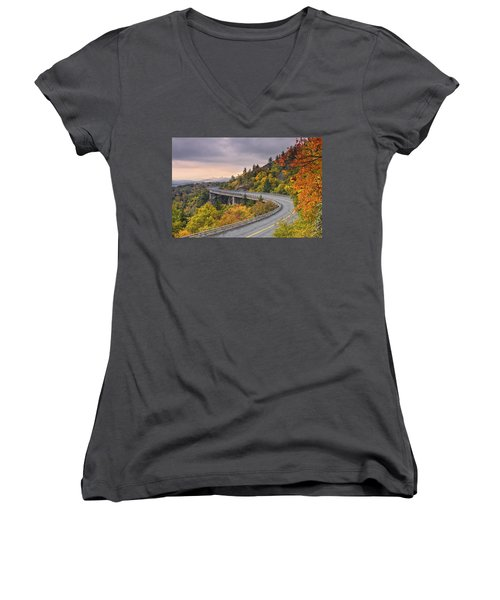 Lynn Cove Viaduct-blue Ridge Parkway  Women's V-Neck