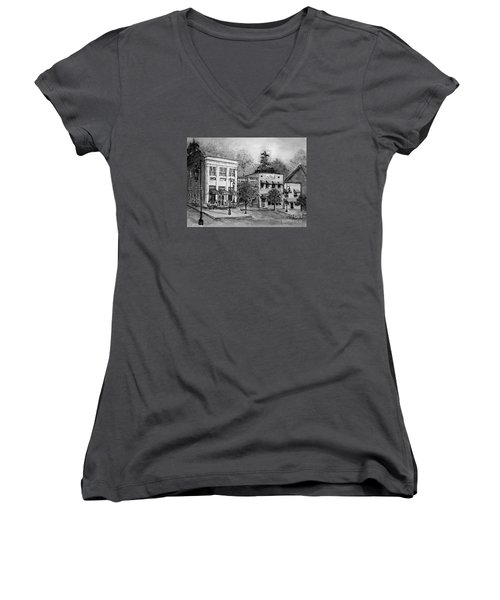 Women's V-Neck T-Shirt (Junior Cut) featuring the painting Blue Ridge Town In Bw by Gretchen Allen