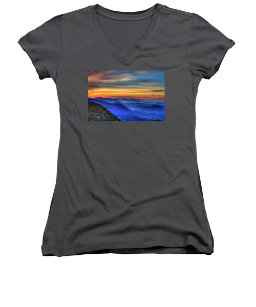 Women's V-Neck T-Shirt (Junior Cut) featuring the photograph Blue Ridges 2 Pretty Place Chapel View Great Smoky Mountains Art by Reid Callaway