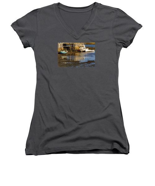 Blue Rocks, Nova Scotia Women's V-Neck T-Shirt (Junior Cut) by Ken Morris