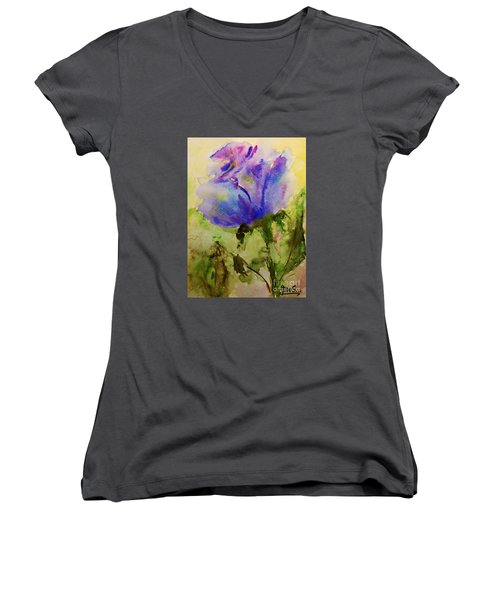 Women's V-Neck T-Shirt (Junior Cut) featuring the painting Blue Rose Watercolor by AmaS Art