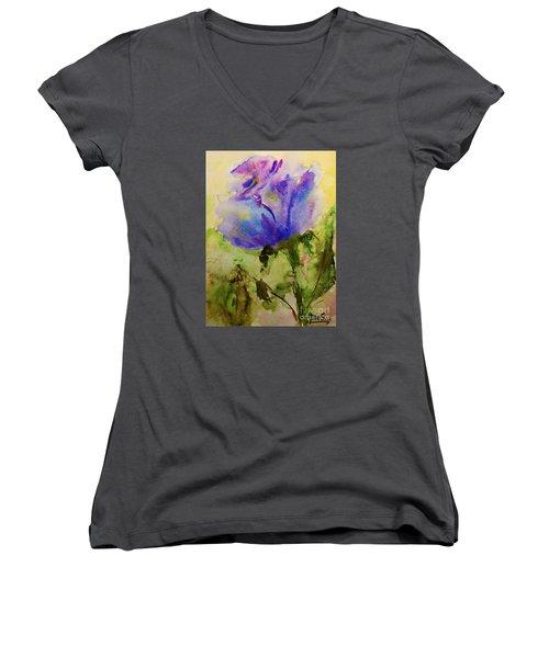 Blue Rose Watercolor Women's V-Neck T-Shirt (Junior Cut) by AmaS Art