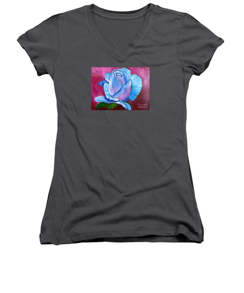 Blue Rose With Dew Drops Women's V-Neck T-Shirt (Junior Cut)