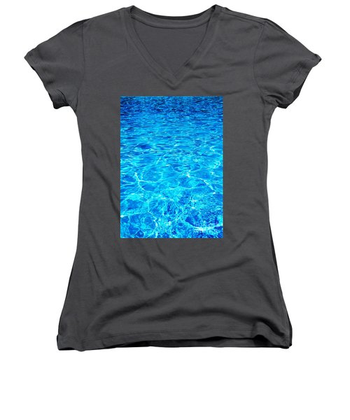 Women's V-Neck T-Shirt (Junior Cut) featuring the photograph Blue Shadow by Ramona Matei