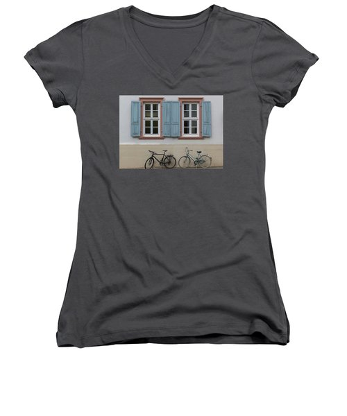 Blue Shutters And Bicycles Women's V-Neck