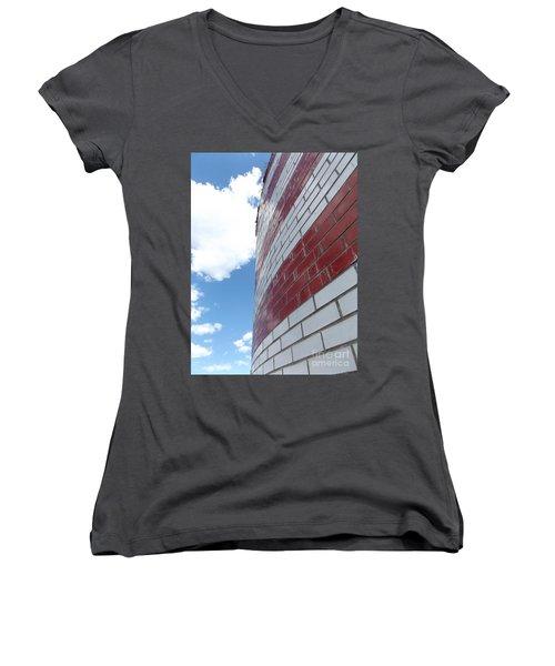 Blue Sky Brick Flag Women's V-Neck T-Shirt