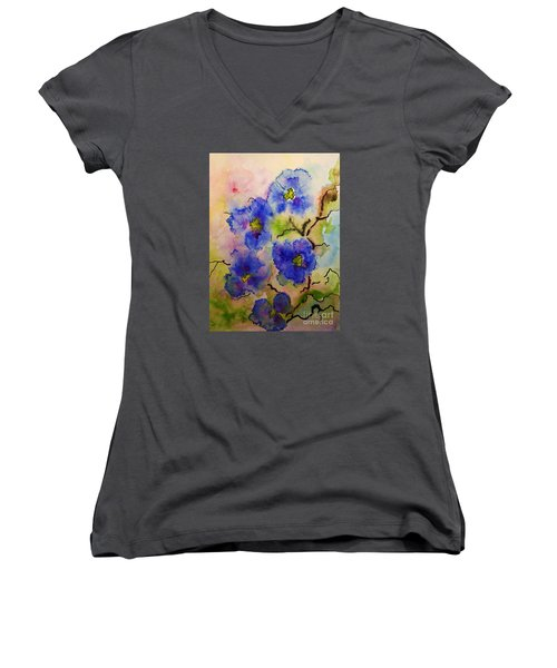 Women's V-Neck T-Shirt (Junior Cut) featuring the painting Blue Spring Flowers Watercolor by AmaS Art