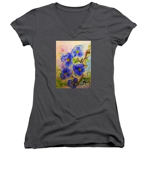 Blue Spring Flowers Watercolor Women's V-Neck T-Shirt (Junior Cut) by AmaS Art