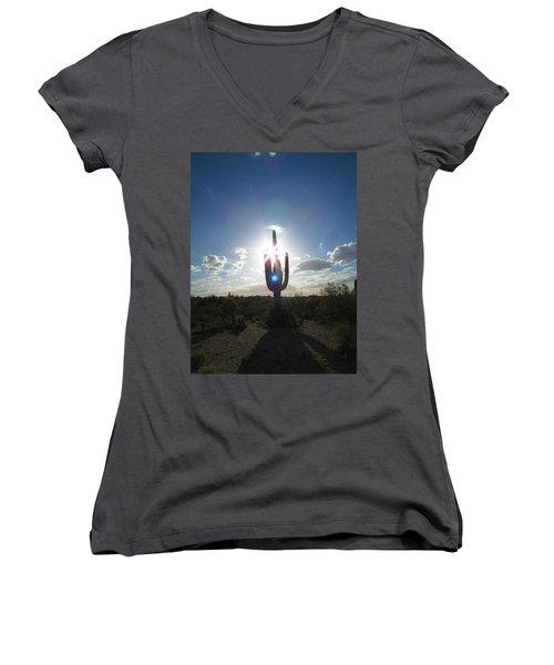 Blue Star Saguaro Women's V-Neck T-Shirt (Junior Cut) by Brenda Pressnall