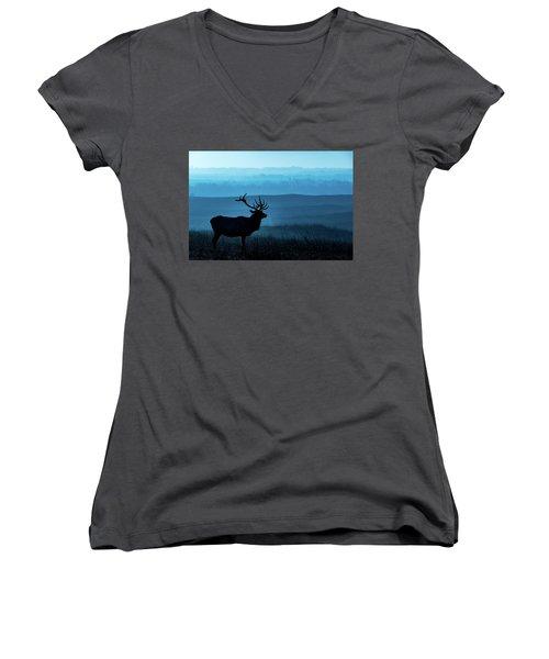 Blue Sunrise Women's V-Neck T-Shirt (Junior Cut) by Jay Stockhaus