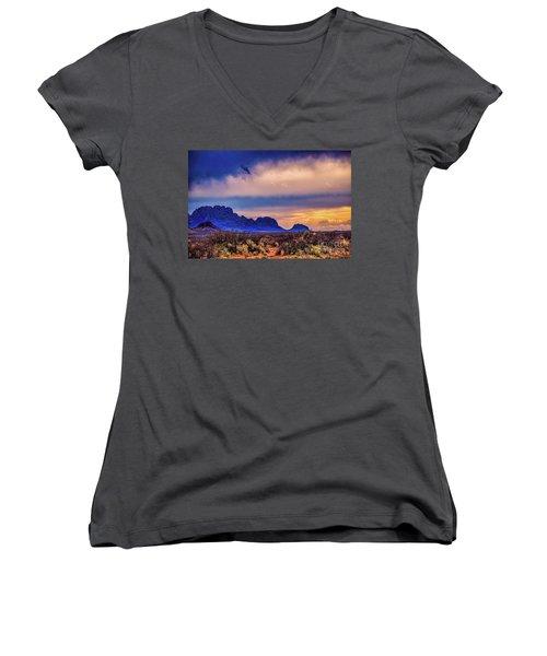 Blue Sunset Nm-az Women's V-Neck T-Shirt (Junior Cut) by Diana Mary Sharpton