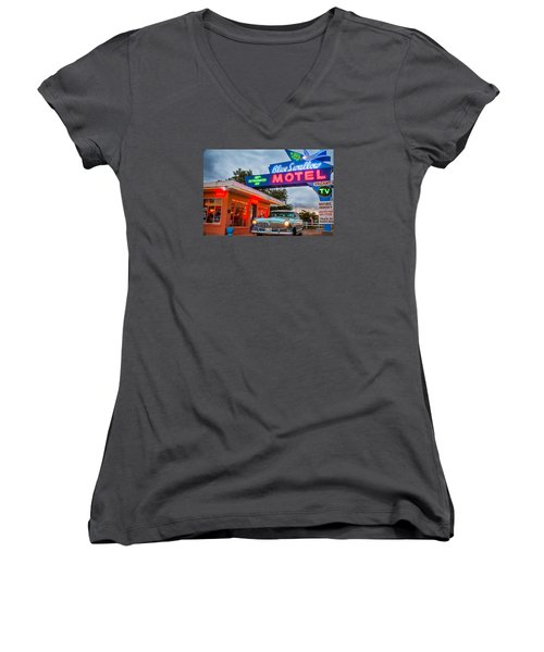 Blue Swallow Motel On Route 66 Women's V-Neck T-Shirt (Junior Cut) by Steven Bateson