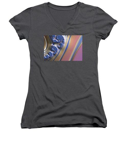 Women's V-Neck T-Shirt (Junior Cut) featuring the digital art Blue Swirly Fractal 2 by Bonnie Bruno