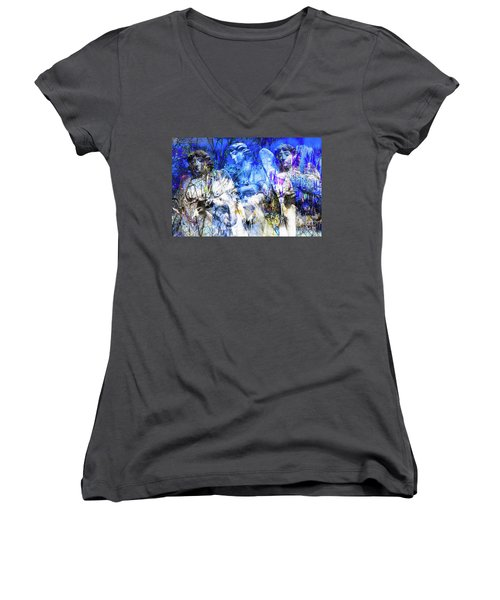 Blue Symphony Of Angels Women's V-Neck