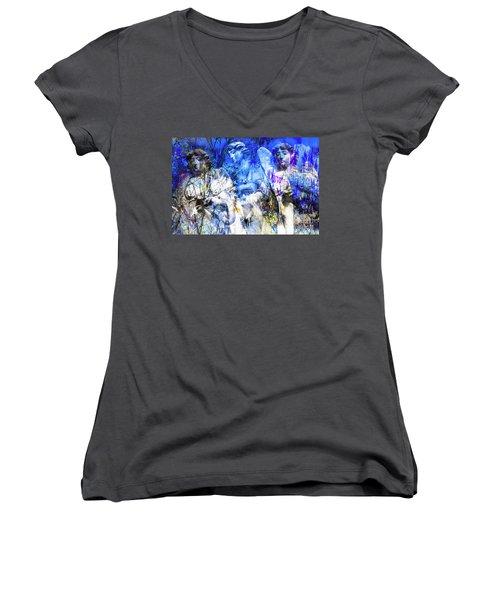 Blue Symphony Of Angels Women's V-Neck