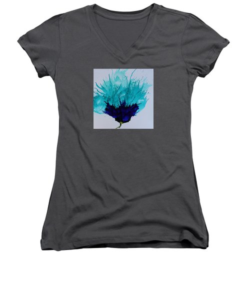 Blue Thistle Women's V-Neck T-Shirt (Junior Cut) by Suzanne Canner