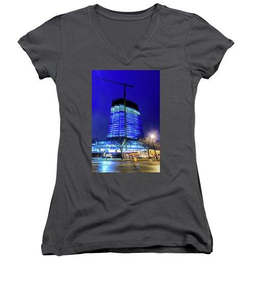 Women's V-Neck T-Shirt featuring the photograph Blue Tower Rising by Randy Scherkenbach