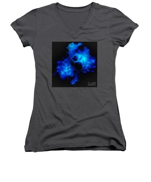 Blue Universe Fractal Women's V-Neck