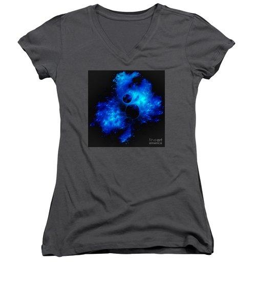 Blue Universe Fractal Women's V-Neck