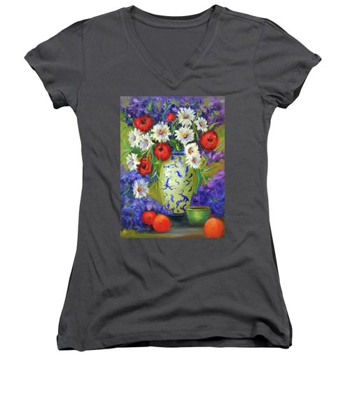 Blue Vase Flowers Women's V-Neck T-Shirt