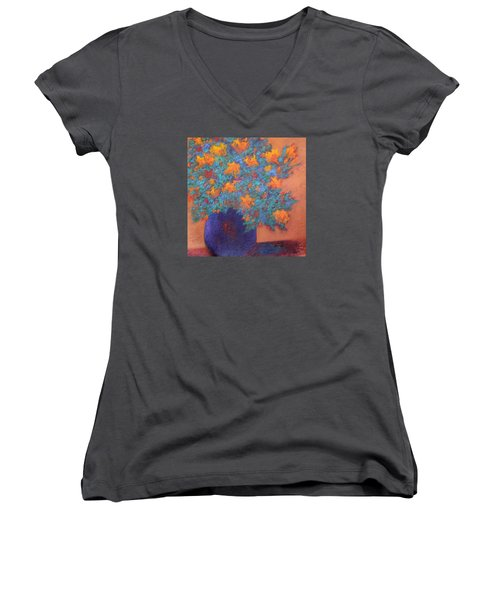 Women's V-Neck T-Shirt (Junior Cut) featuring the painting Blue Vase by Nancy Jolley