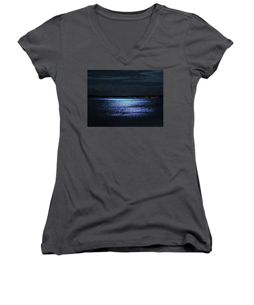 Blue Velvet Women's V-Neck T-Shirt (Junior Cut) by Glenn Feron