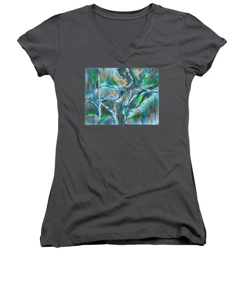 Blue Warbler In Birch Women's V-Neck T-Shirt