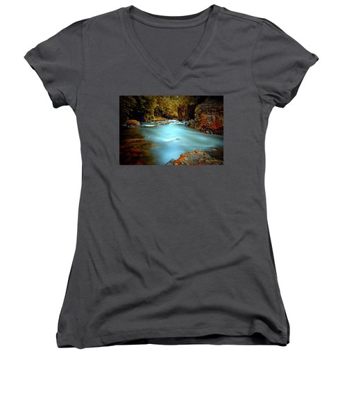 Blue Water And Rusty Rocks Signed Women's V-Neck