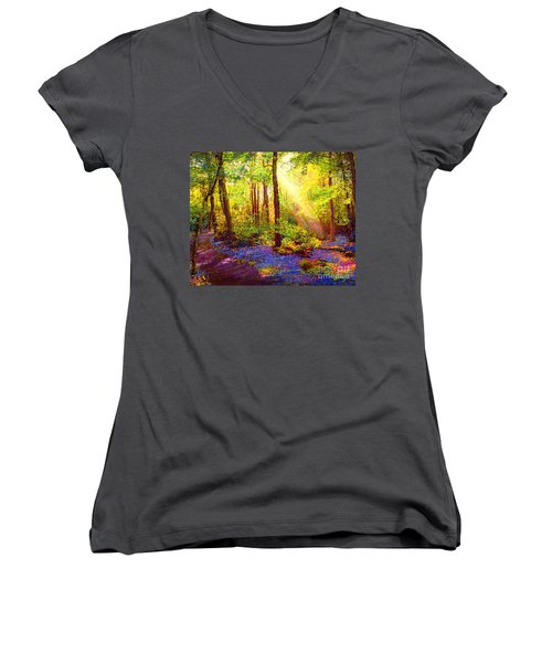 Women's V-Neck T-Shirt (Junior Cut) featuring the painting Bluebell Blessing by Jane Small