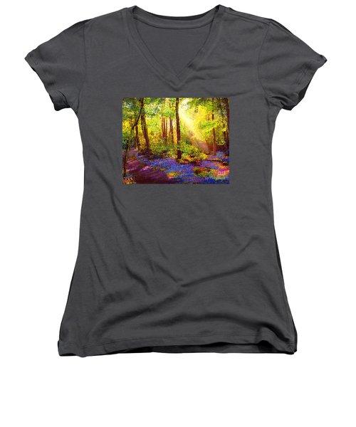 Bluebell Blessing Women's V-Neck T-Shirt (Junior Cut) by Jane Small