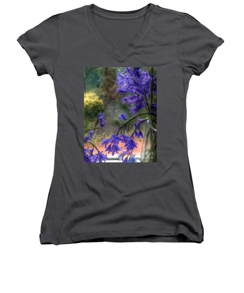 Bluebells In My Garden Window Women's V-Neck (Athletic Fit)