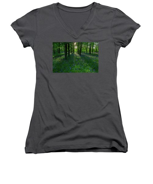 Bluebells In Oxey Woods Women's V-Neck (Athletic Fit)