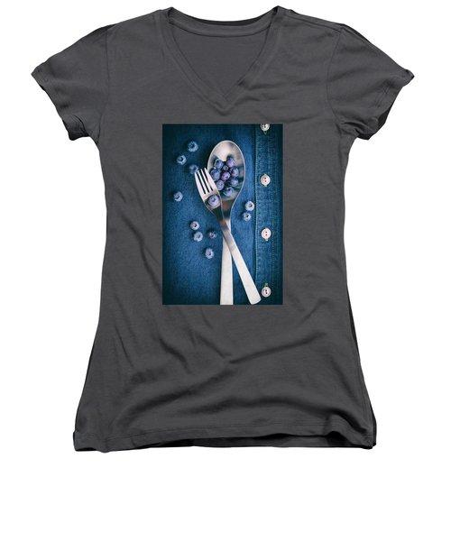 Blueberries On Denim II Women's V-Neck T-Shirt (Junior Cut) by Tom Mc Nemar