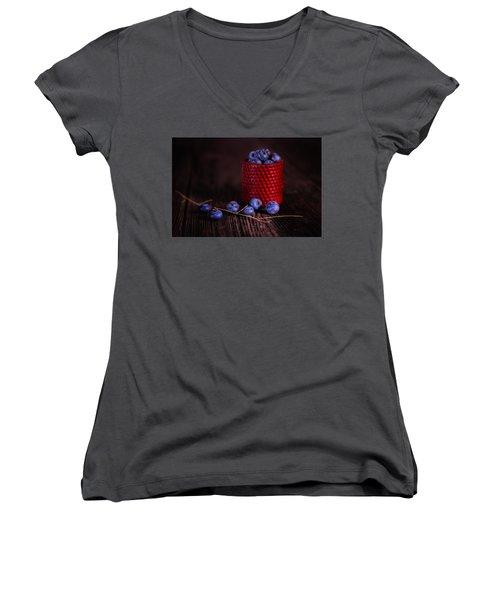 Blueberry Delight Women's V-Neck T-Shirt (Junior Cut) by Tom Mc Nemar