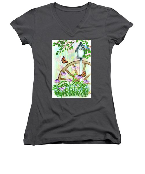Bluebirds And Butterflies Women's V-Neck (Athletic Fit)
