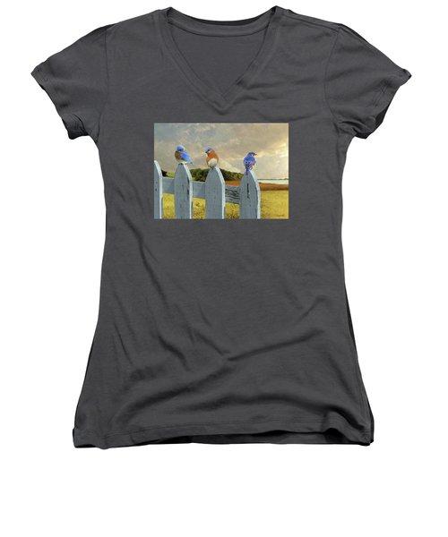 Bluebirds In My Heart Women's V-Neck (Athletic Fit)