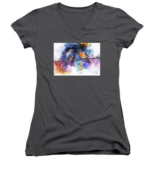 Women's V-Neck T-Shirt (Junior Cut) featuring the painting Bluebirds by Zaira Dzhaubaeva