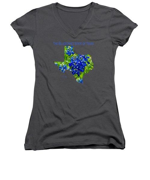 Bluebonnet State Of Texas - T-shirt Women's V-Neck T-Shirt (Junior Cut) by Robert J Sadler
