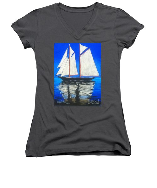 Bluenose 2 Women's V-Neck T-Shirt (Junior Cut) by Rae  Smith