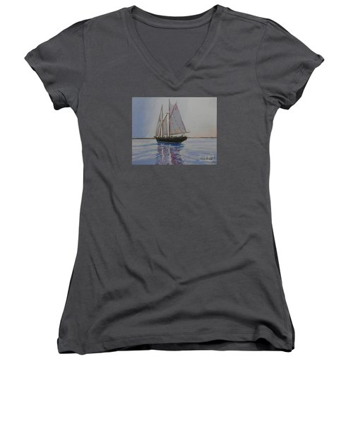 Bluenose Women's V-Neck T-Shirt (Junior Cut) by Rae  Smith