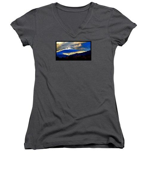 Blueray Winter New Mexico Women's V-Neck T-Shirt (Junior Cut) by Susanne Still
