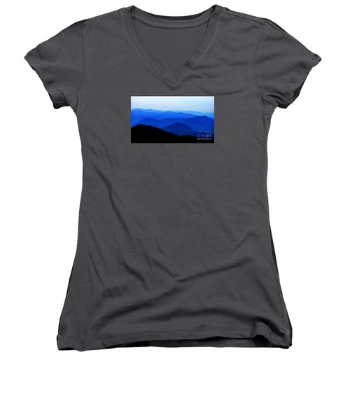 Blueridge Mountains - Parkway View Women's V-Neck T-Shirt (Junior Cut) by Scott Cameron