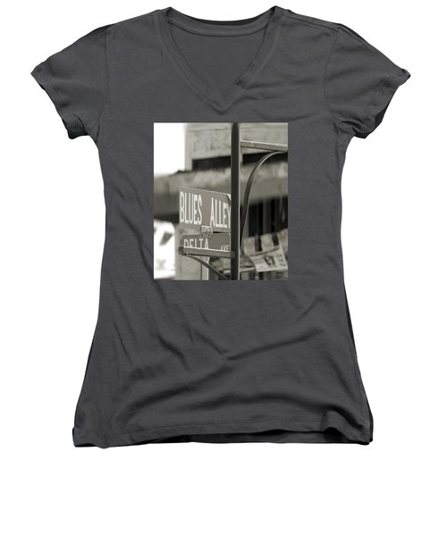 Blues Alley Street Sign Women's V-Neck T-Shirt