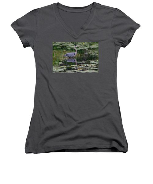 Blue's Image- Great Blue Heron Women's V-Neck T-Shirt