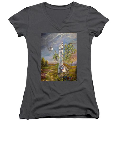 Bluethroat On The Tundra Women's V-Neck T-Shirt (Junior Cut)