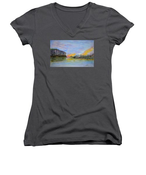 Bluffs At Sunset Women's V-Neck (Athletic Fit)
