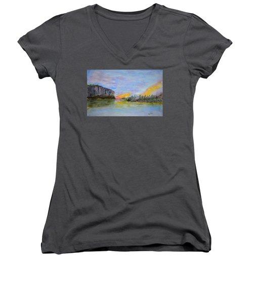 Bluffs At Sunset Women's V-Neck T-Shirt