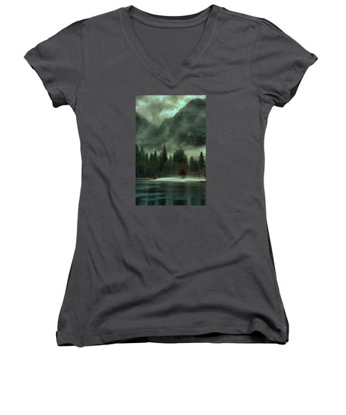 Blustery Yosemite Women's V-Neck T-Shirt (Junior Cut) by Josephine Buschman