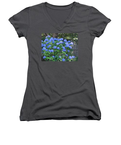 Blue Hydrangeas Women's V-Neck (Athletic Fit)