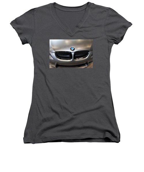 Women's V-Neck T-Shirt (Junior Cut) featuring the photograph Bmw M3 Hood by Aaron Berg